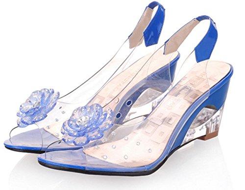 Luce YCMDM donne sandali primavera-estate Soles similpelle Casual Zeppa Nero Blu Giallo Rosso Bianco , blue , us9 / eu40 / uk7 / cn41