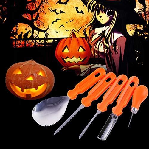 Pumpkin Carving Kit - Easily Carve Sculpt Halloween Jack-O-Lanterns Heavy Duty Stainless Steel Tool Set Fruit Kitchen Cutter Pumpkin Lamp Decoration Tool(5 PCS)