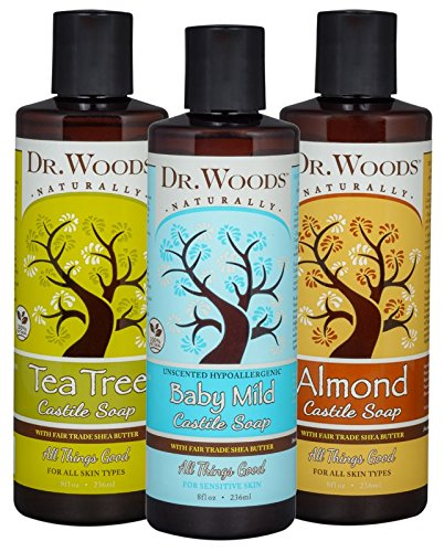 Dr. Woods Pure Liquid Castile Soap with Organic Shea Butter Variety (3 Assorted 8 Ounce Bottles)