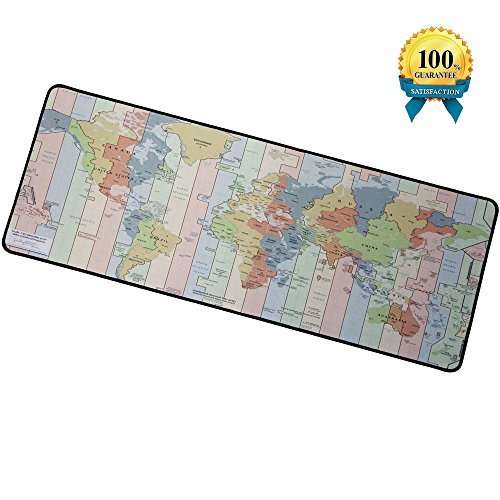 IAUGO Large Gaming Mouse Pad XXL,Computer Extended Mouse Mat,Non-slip Rubber Base,Anti-Fray Cloth (Time zone map)