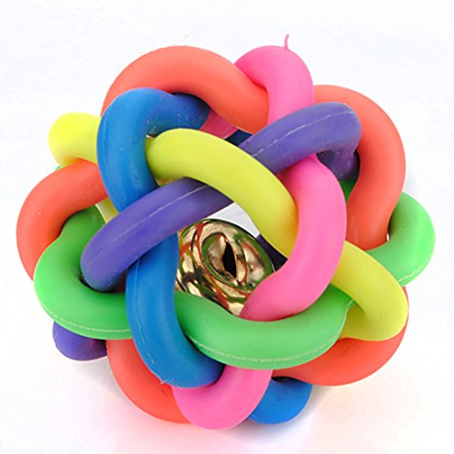 corner-biz-pet-5cm-petsmart-dog-toys-woven-rainbow-color-rubber-bell-ball