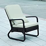 Lounge Recliner Chair for Patio Porch Balcony Deck-Babylon Resin Wicker Relaxing Lounge Rattan Armchair with Cushions - Brown & Sand
