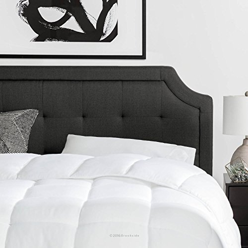 Brookside Upholstered Scoop-Edge Headboard with Square Tufting - Queen - Charcoal