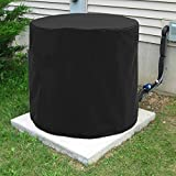SunPatio Outdoor Air Conditioner Unit Cover, Premium Round AC Defender, Heavy Duty and Weatherproof, 34' Dia x 30' H, Black