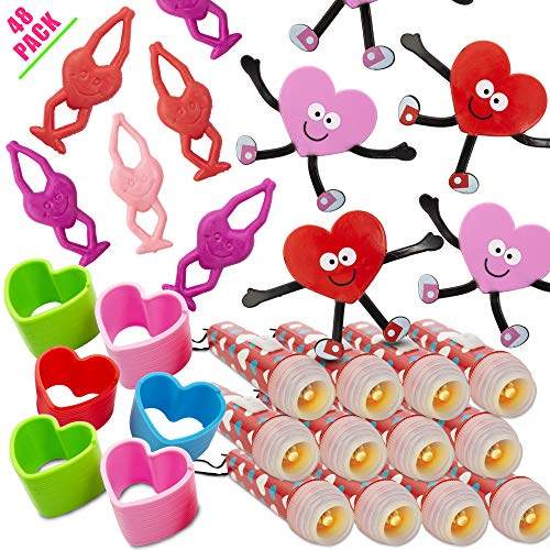 FAVONIR Valentine's Day 48 Gift Pack Stationary Party Souvenirs Favor Set – Heart Shaped Magic Coils - Stretchable Flying Heart Character – Heart Face Bendable's And Themed Flash Lights ()