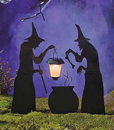 3 Piece Witch Stake Cauldron Pot Solar Lighted Lantern Halloween Silhouette Yard Display Decoration ()