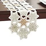 Snowy Dream Gold Metallic Embroidery Snowflake Christmas Holiday Table Runner (108'' Runner)