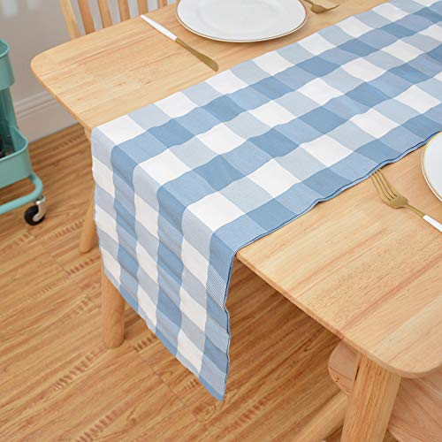 NATUS WEAVER Blue & White 2 Side Buffalo Check Table Runner for Family Dinners or Gatherings, Indoor or Outdoor Parties, Everyday Use (12