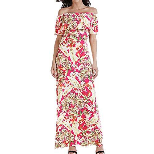 Isbxn Vestido de Temperamento Elegante Estampado con Volantes de una Sola Palabra del Abrigo del Cuello de Las Mujeres (Color : Green, Size : S) Pink