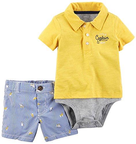 Carter's Boy's 2-Piece Little Captain Dept. Layered Bodysuit & Striped Shorts; Yellow (3M)