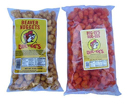 Buc-ee's Snack Combo Package: Sweet Caramelized Beaver Nuggets and Cheese Flavored Nug-ees (One Bag of -