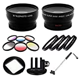 Gopro Mount with Telephoto & Wide Angle Lens - Color Filter and Close up Bundle with Additional Handheld Extendable Monopod Fits Gopro 2 3 3+