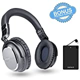 Wireless Active Noise Cancelling 4.1 Bluetooth Headphones with in-line Microphone Up to 30 hrs Playtime for iPhones, Airplane Travel, Smartphones, Tablets, TV & Work (with Slim Power Charger)