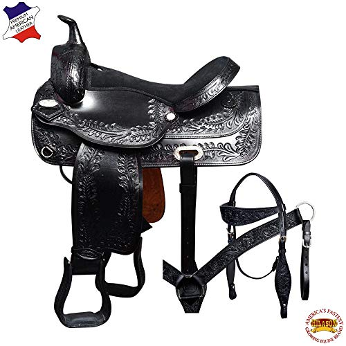 HILASON 17″ Western American Leather Draft Horse Saddle Trail Pleasure