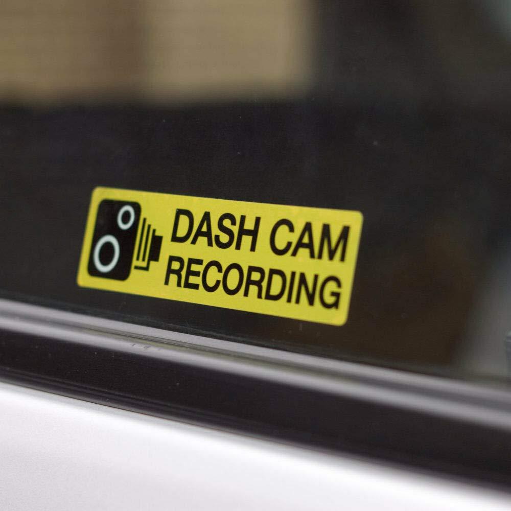 Dash cam recording internal car window 110mm x 30mm warning stickers pack of 2 decals amazon co uk car motorbike
