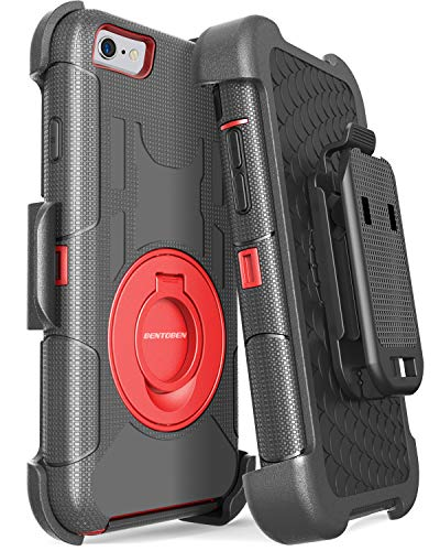 BENTOBEN Case iPhone 6/6S, 4 in 1 Hybrid Shockproof Heavy Duty Rugged Full Body Protective Cover Built-in Rotating Kickstand Swivel Belt Clip Holster Case iPhone 6/6S, Red/Black