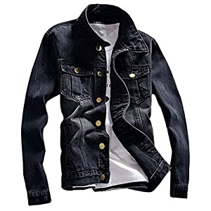 LifeHe Denim Jacket Men Blue Jean Jackets Coats with Patches