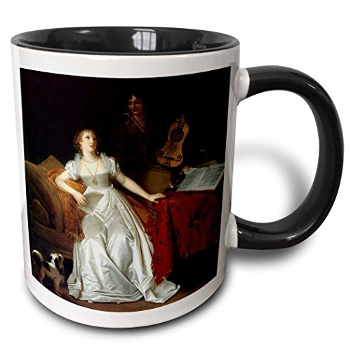 (3dRose BLN Music Featured in Fine Art Collection - Prelude to a Concert, c. 1810 by Marguerite Gerard - 15oz Two-Tone Black Mug (mug_173824_9))