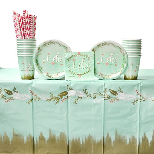 Mint to Be Wedding Shower Party Pack for 16 Guests | 24 Straws, 16 Dessert Plates, 16 Beverage Napkins, 1 Table Cover, and 16 Cups | Bridal Shower Supplies | Engagement Party Supplies Pack for 16