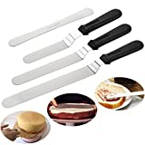 Newland Angled Icing Spatulas Set Stainless Steel Kitchen Cake Spatula Variety Set Pack of 3 (8 inch, 10 inch and 12 inch) (Black)