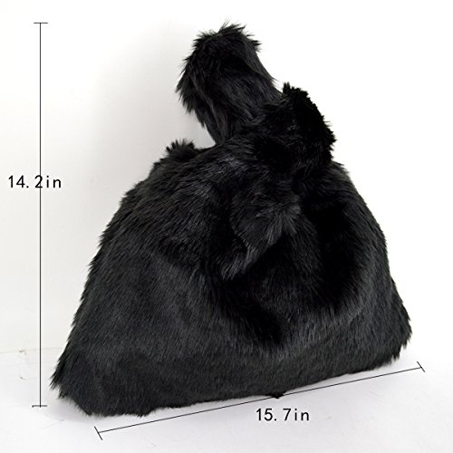 Wristlet Women YAOSEN Bag Wrist Faux Color Fur Tote Solid Bag Black Crossbody Plush 0RCqa6w