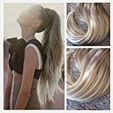 Moresoo 24 inch 120g Two-tone Ombre Color Ash Brown to Bleach Blonde(Color 613) 100% Real Hair Clip In Human Hair Extensions Full Head Set