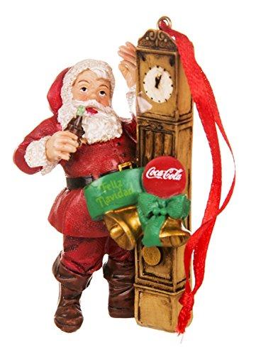 Coca-Cola Santa with Clock Resin Ornament