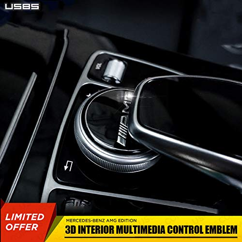 US85 Direct New Mercedes-Benz C-Class E-Class GLC GLE GLS S-Class Interior Multimedia Control Emblem Decal Badge Decoration Logo Gift (Black AMG)