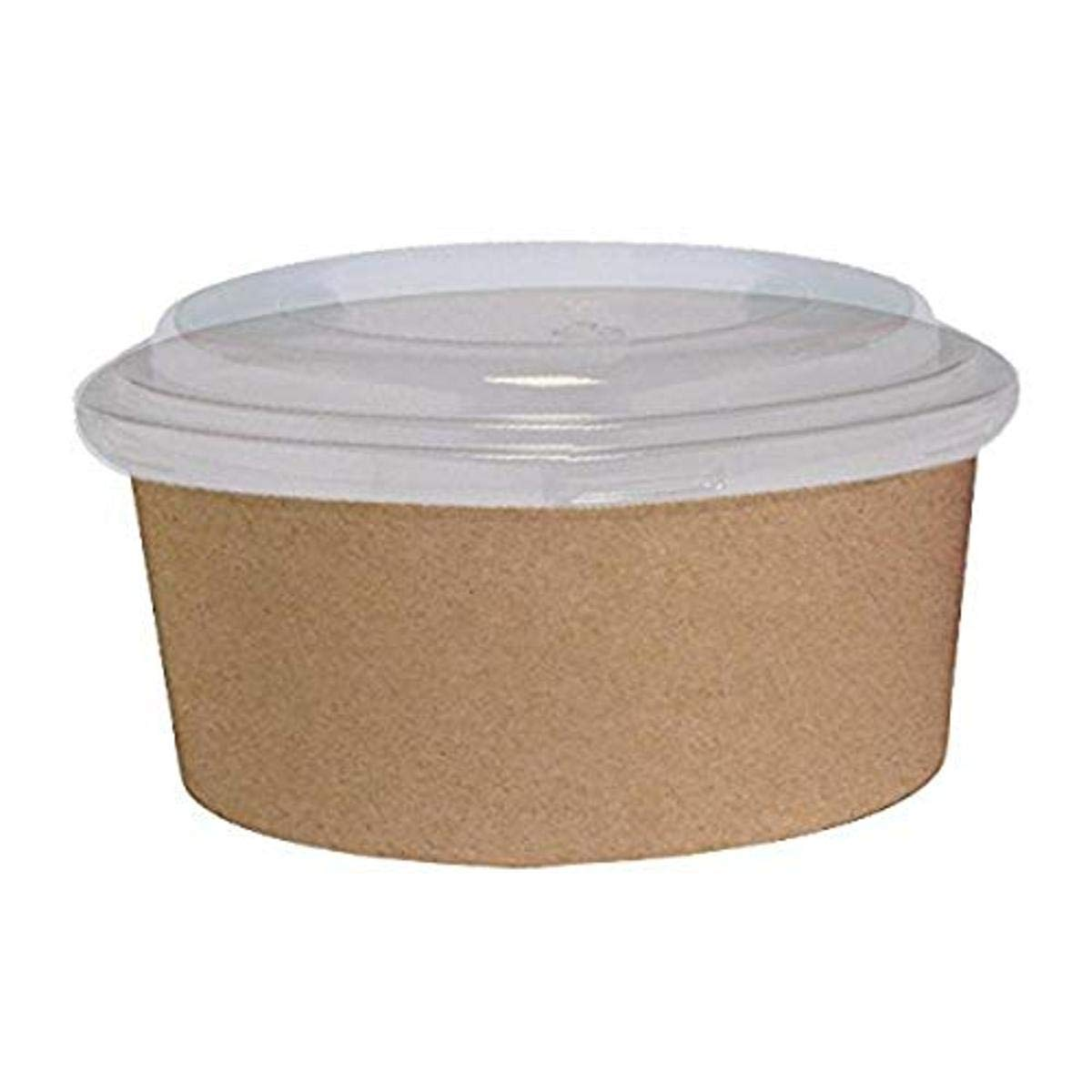 Kraft Brown Round to-Go Bucket Container with Clear Plastic Lid (Case of 25), PacknWood - Paper Food Storage Containers (38 oz, 7.25