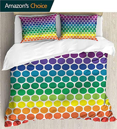 carmaxs-home Bedspread Set Queen Size,Box Stitched,Soft,Breathable,Hypoallergenic,Fade Resistant Kids Bedding-Does Not Shrink Or Wrinkle-Polka Dots Rainbow Colored Big Dots (80