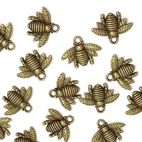 Honbay 50PCS Alloy Bee Honeybee Charm Pendants, DIY Craft Jewelry Making Accessory, 21x16mm (Antique Bronze) (Metal Bees)