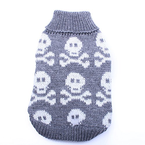 (SKS PET TM Dog Cat Sweater Jumper Skulls Jacquard Pet Puppy Hoodie Coat Jacket Winter Warm Clothes 6 Sizes 2 Colours Suit Cat Puppy Chihuahua Yorkie (S, Gray))