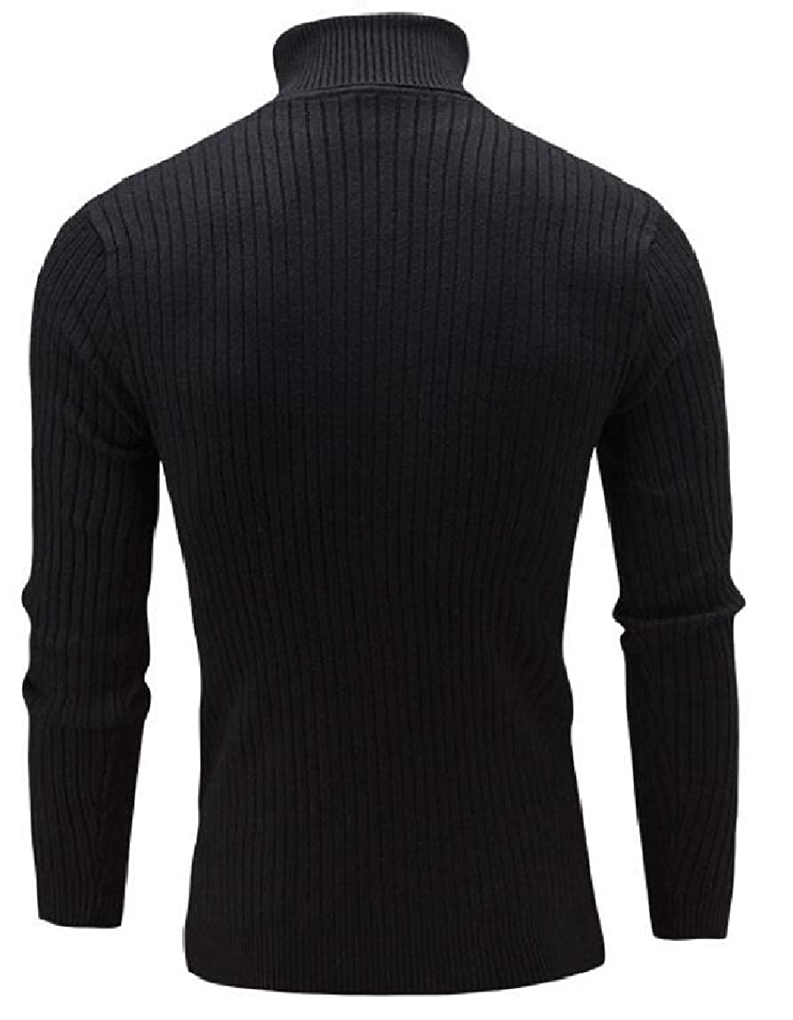 Yayu Men Fashion Basic Ribbed Knit Turtleneck Long Sleeve Slim Fit Pullover Sweater