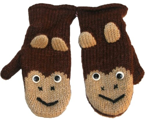 57 MT Agan Traders Wool Fleece Lined Ski Animal (Mitten - (Monkey Wool Mittens)