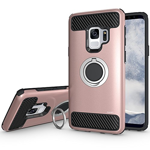 Galaxy S9 Case, Aoways Armor Dual Layer Case with Rotatable Finger Ring Kickstand Magnetic Car Mount Protective Cover for Samsung Galaxy S9 - Rose (Cover Samsung Magnet)