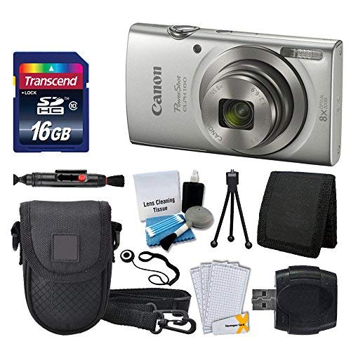 Canon PowerShot ELPH 180 Digital Camera (Silver) + Transcend 16GB Memory Card + Point & Shoot Camera Case + USB Card Reader + LCD Screen Protectors + Memory Card Wallet + Cleaning Pen + Accessory Kit from Photo4Less
