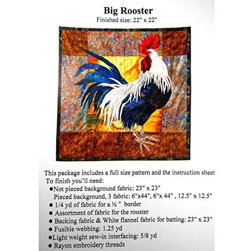 Big Rooster Full Size Applique Quilting Quilt Pattern and Instruction Only, Quilter Quiltmaking Gift