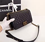 Simple-Chanel Womens Rhombus Chain Inclined Shoulder Bag (Golden)