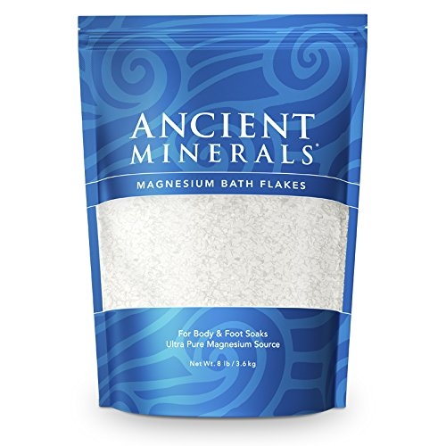 (Ancient Minerals Magnesium Bath Flakes of Pure Genuine Zechstein Chloride - Resealable Magnesium Supplement Bag that will Outperform Leading Epsom Salts (8 lb))
