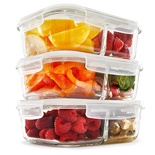 2 Compartment Glass Meal Prep Containers (3 Pack) - Food Storage Containers with Vented Lids | Glass Tupperware Set | Leakproof Food Prep Containers | Portion Control Food Containers | - Discount Fit Code Quick