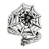 Silver-Wear Swirls Sterling Silver Adjustable Antique Finish Entrancing Spider Web Spoon Style Ring