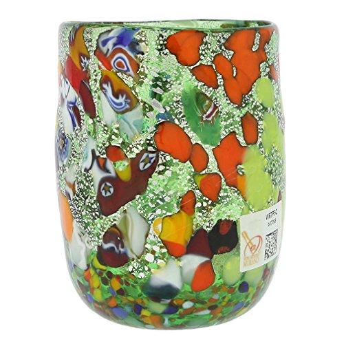 (GlassOfVenice Murano Drinking Glass - Millefiori Silver Green)