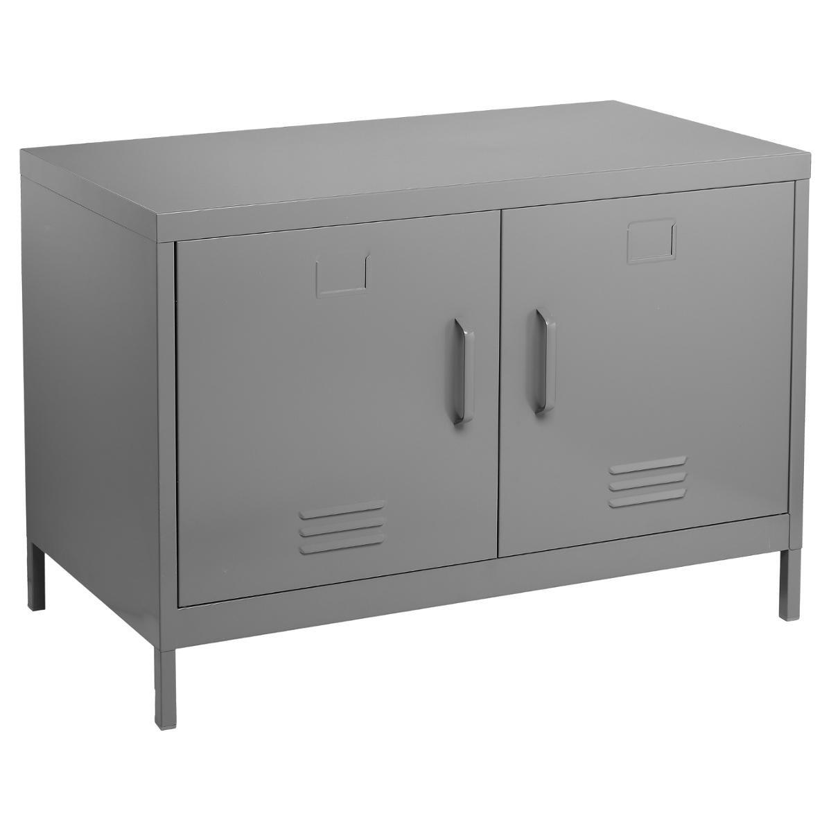 Meuble console buffet bas de rangement 2 portes - Esprit industriel - Atelier - Loft - Coloris GRIS
