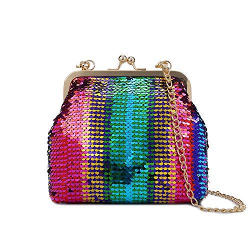 Lam Gallery Sparkling Sequins Clutch Purse Glitter Handbags Bling Evening Clutch Chain Shoulder Bag-Multicolor