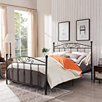 Dallas Classical Matte Black Finished Iron Queen Bed Frame