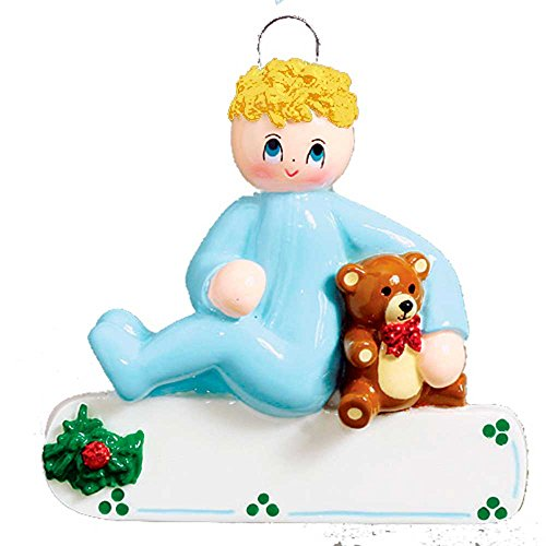 Personalized Toddler Boy with Teddy Bear Christmas Ornament for Tree 2018 - Blonde Baby Child in Pajamas First Steps - Story Mom PJs Lover Yellow Hair Kid Grand-Son - Free Customization by Elves by Ornaments by Elves