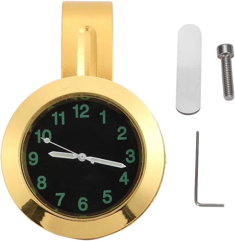 Reloj de la motocicleta, Accesorio de modificación del reloj de metal de la manija del reloj universal de montaje en el manillar de la motocicleta, dorado