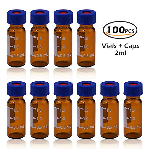 Autosampler Vial, 2ml HPLC Vial, Amber Lab Vial, Sample Vial with Writing Area, 9-425 Screw-Thread Vial, Blue Screw Cap with Hole, White PTFE & Red Silicone Septa 100 Pack by Alberts Filter