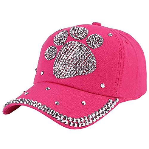 Funbase Children Outdoor Sports Star Shaped Bling Baseball Hiking Cap (Rose&Paw)