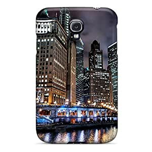 Special Design Back Chicago River At Night Hdr Phone Case Cover For Galaxy S4